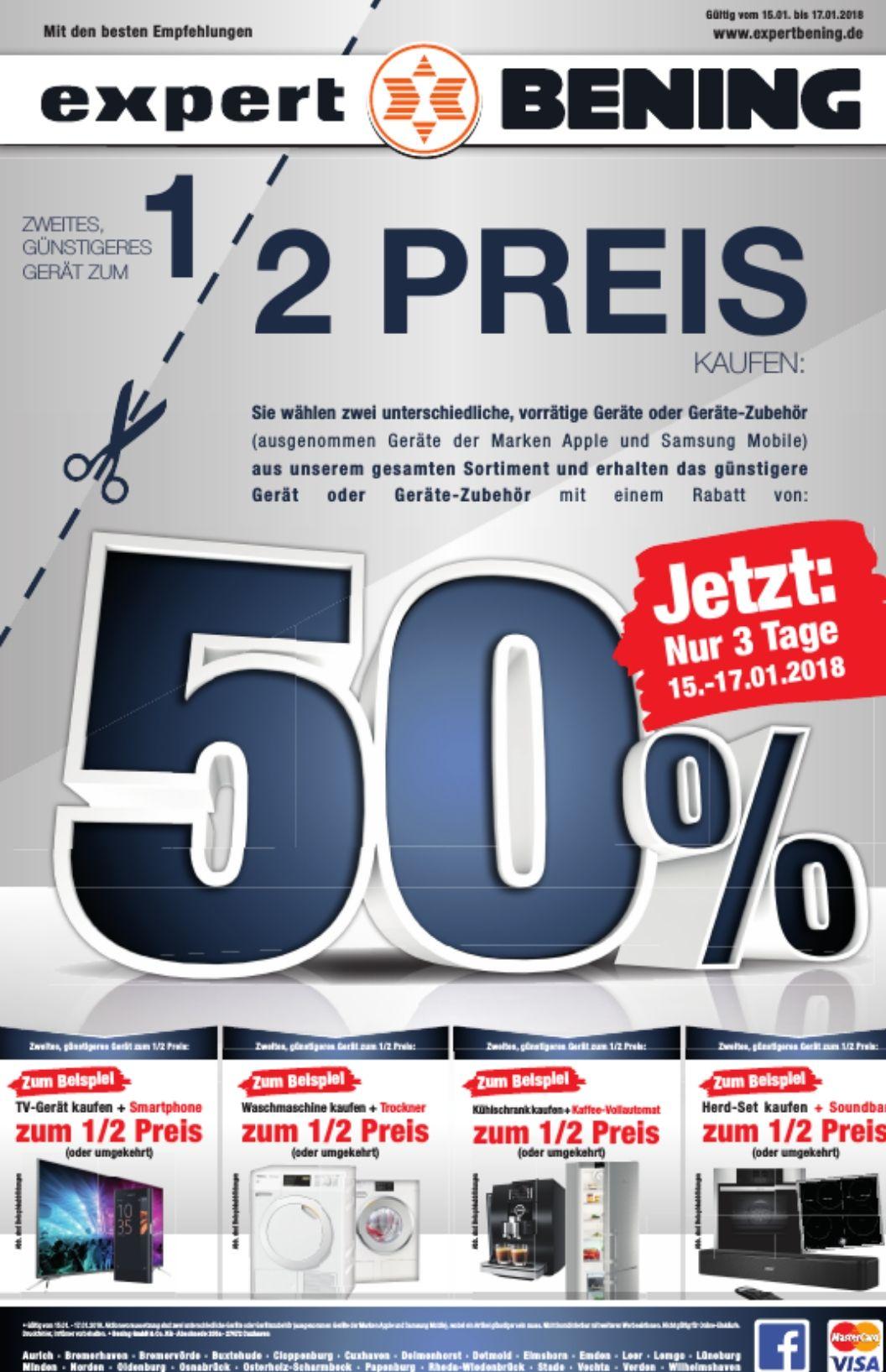 [Expert Bening/Lokal] Aktion bei Expert Bening : 2 Geräte oder Geräte-Zubehör kaufen und zum 2.(günstigeren) Gerät oder Geräte-Zubehör 50 % Rabatt erhalten
