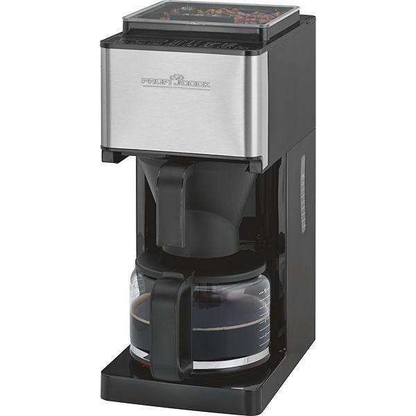 [plus.de]  Profi Cook PC-KA 1138 Kaffeemaschine mit einstellbarem Edelstahl-Kegelmahlwerk (14x Stufen, 24h Timer, Sensor Touch-Bedienfeld mit LED-Display, 1,25L Füllmenge, Mahlwerk zerlegbar) in edelstahl / schwarz