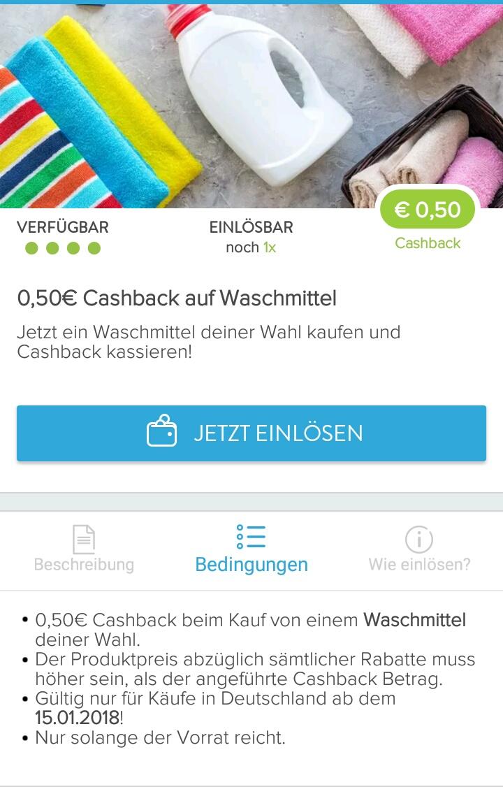 [Marktguru-App] 0,50€ Cashback auf Waschmittel nach Wahl