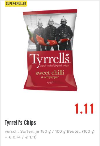 [Lokal Edeka (wohl bundesweit) & Trinkgut] Tyrrell's Original Englische Chips für 1,11€