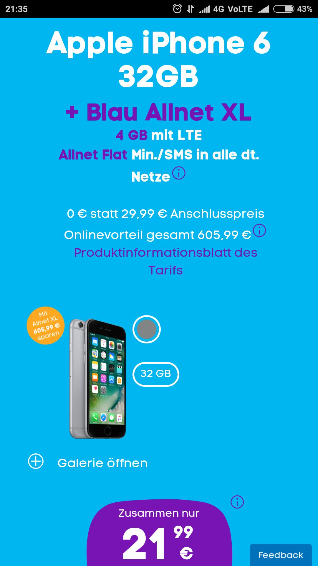 iPhone 6 + Blau Allnet XL (4GB) für 1 € Zuzahlung + 21,99 € Grundgebühr