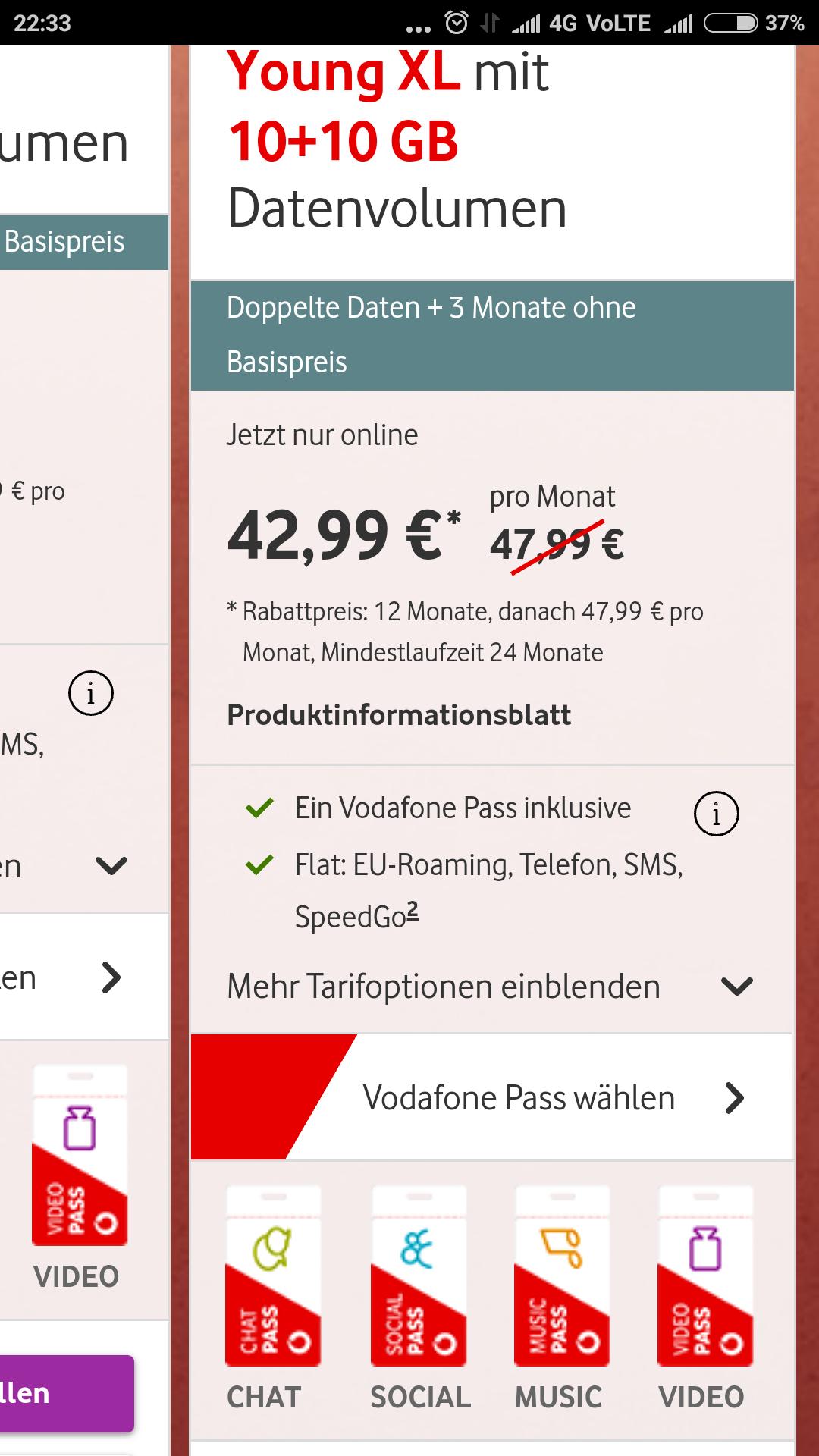 Young XL10 GB + 10GB +Vodafone Pass und  GigaDepot