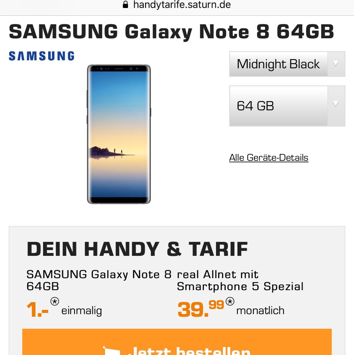 1€ Samsung Galaxy Note 8 - Allnet Flat, 4GB ohne LTE