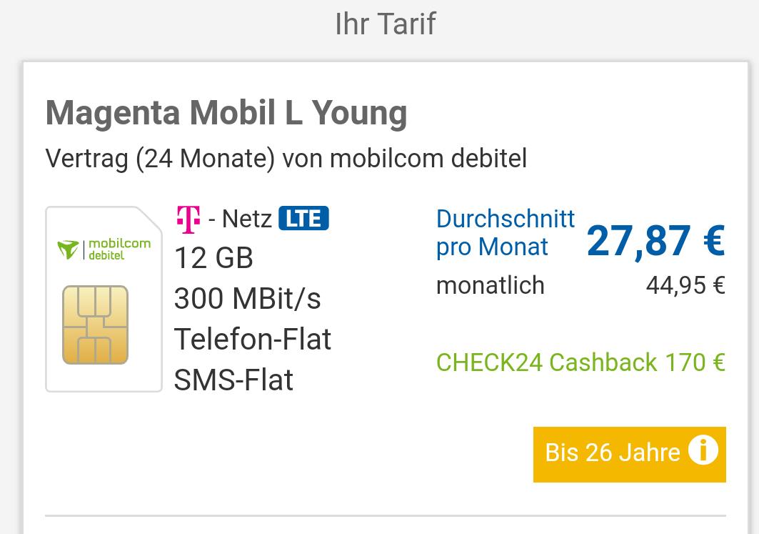 Telekom Mobilcom debitel Young12 GB LTE 300mbits