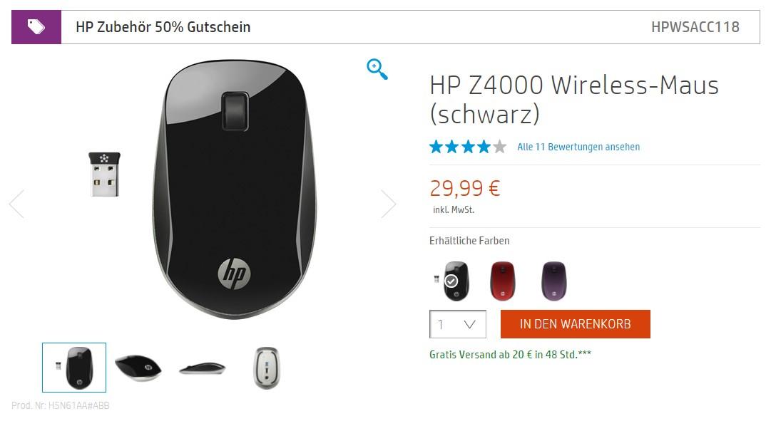 [HP Store] HP Z4000 Wireless-Maus (schwarz)