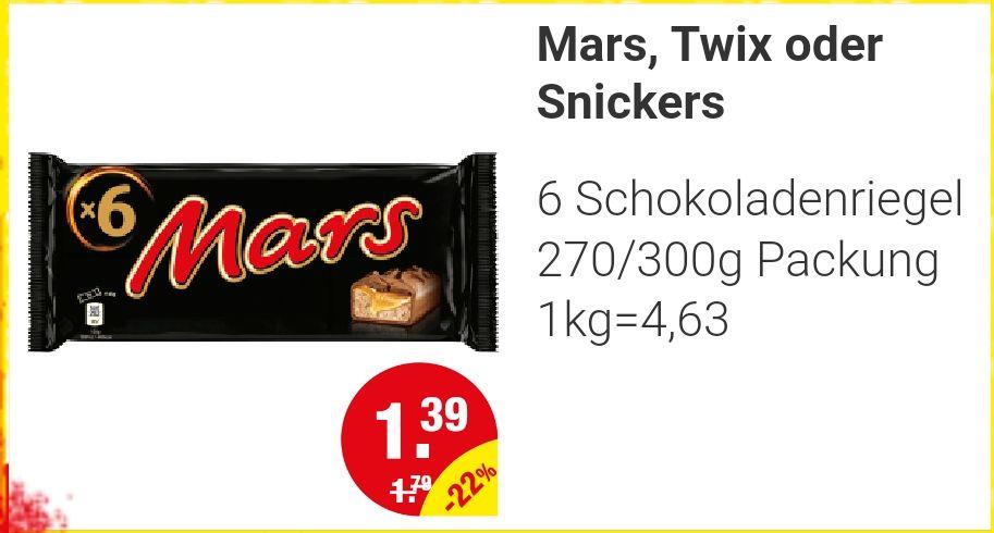 [NP-Discount]Mars, Snickers, Twix 6er 300g für 1,39€
