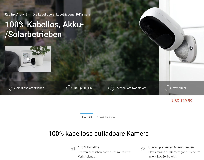 Reolink Argus 2 - Early Bird 50% Rabatt - 100% kabellose aufladbare Kamera
