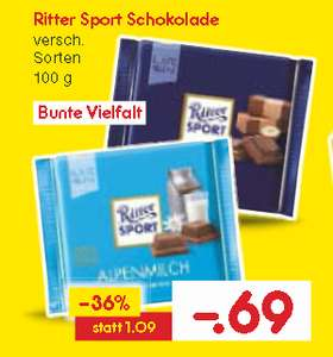 (Netto o. Hund) Ritter Sport bunte Vielfalt (inkl. Wintersorten) 100g für 0,69€