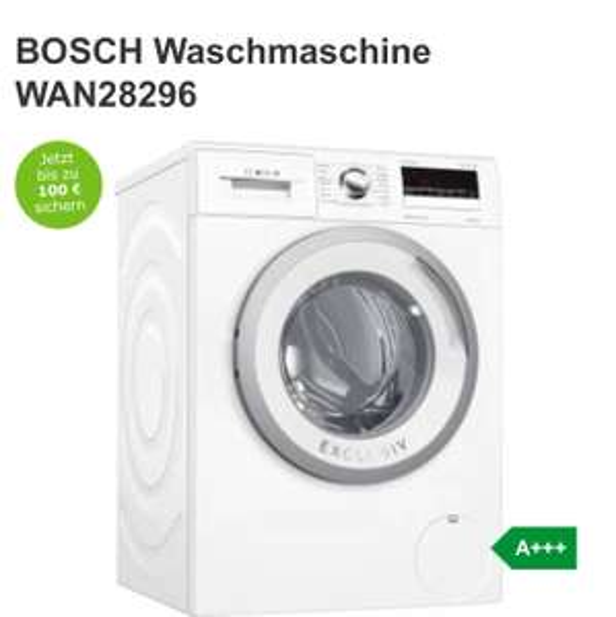 BOSCH Waschmaschine WAN28296 399€ mit 50€ Cashback [Expert Bundesweit]
