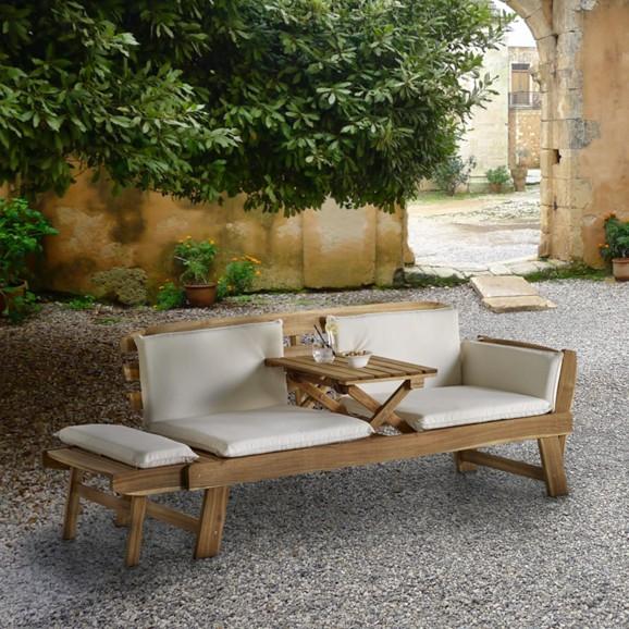 relaxliege sitzbank luca aus akazienholz mit integriertem tisch und inkl kissen f r 79 vorbei. Black Bedroom Furniture Sets. Home Design Ideas