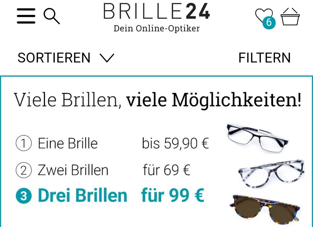 3 Brillen für 99,-€ bei Brille24 für ausgesuchte Brillen VSK frei