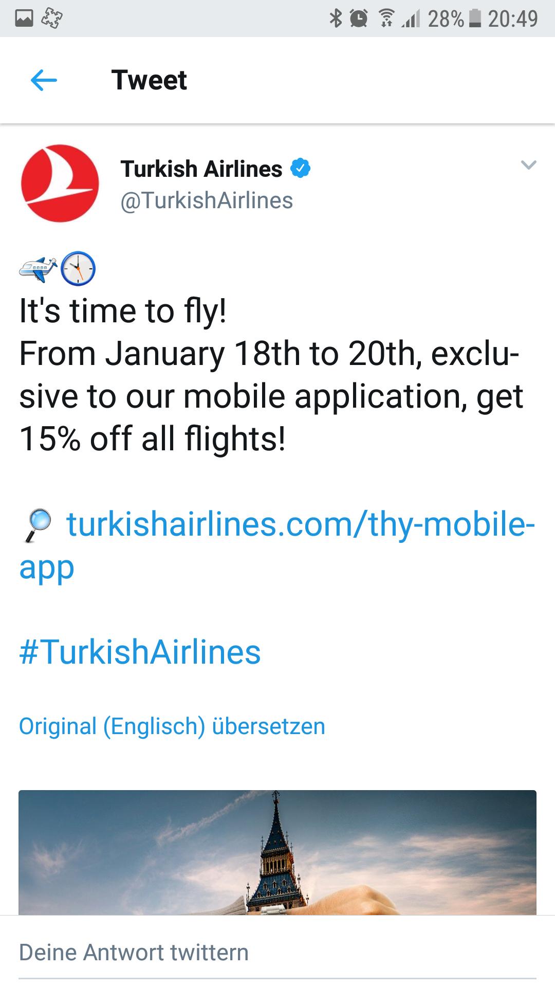 Turkish Airlines 15% Rabatt