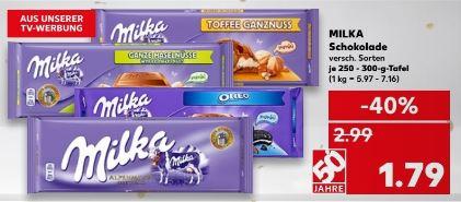 [Kaufland ab 25.01.] 250-300g Tafel Milka für 1,79€, mit Coupon 1,46€ (beim Kauf v. 3 Tafeln)