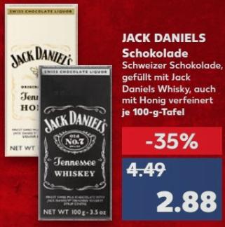 Jack Daniel`s - gefüllte Schweizer Liquer Schokolade - Classic oder Honey - ab 2,88 € @ [Kaufland ab 25.01]