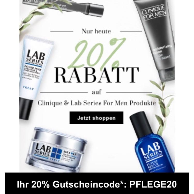 20% auf alle Produkte von Clinique und Lab Series For Men! bei Flaconi
