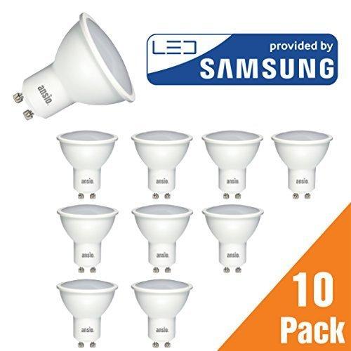 [ Amazon ] GU10 LED-Glühbirne 10er Pack ab 17€ für Prime Kunden, warmweiß, 5 W ersetzt 35 Watt Halogen nicht dimmbar, 350 Lumen, 3000 K, 120 ° Abstrahlwinkel - 10 Stück | LED von Samsung | nicht Verwendung mit Dimmer Schalter