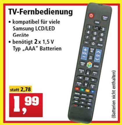 Universal TV Remote (Samsung) für 1,99€ [Thomas Philipps]