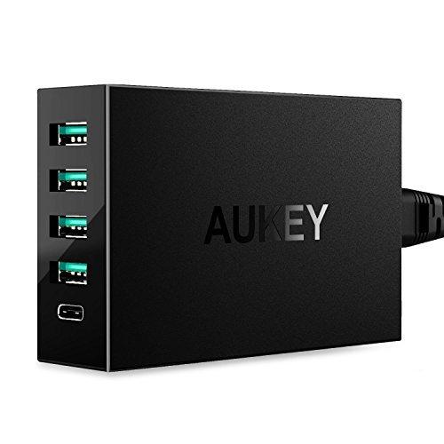 Aukey PA-Y5 Ladegerät mit 5 Ports (1x USB C) + Quick Charge 3.0 (Amazon.co.uk)