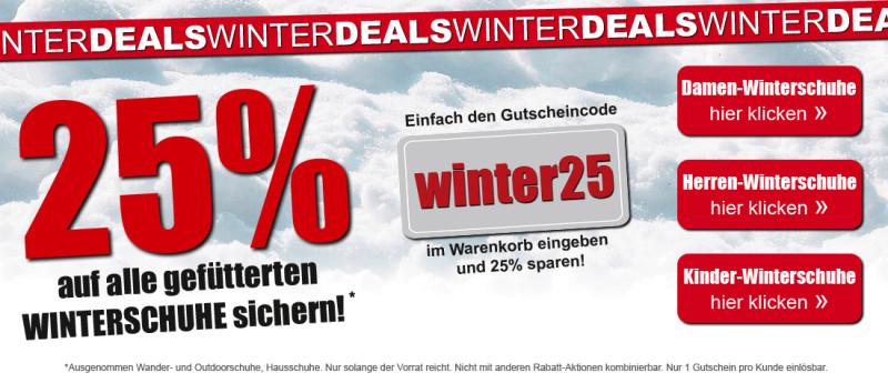 25% auf alle gefütterten Winterschuhe bei SCHUH-Germann - Versandkostenfrei