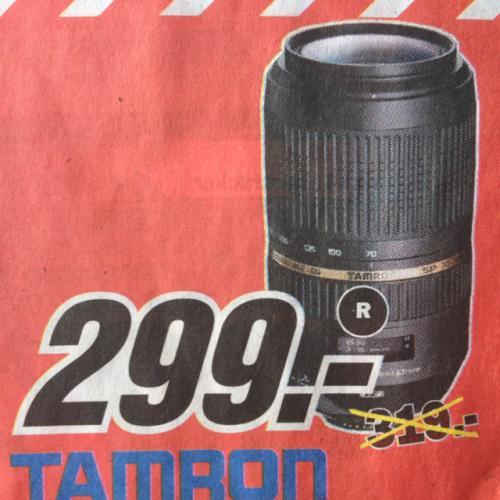 [Lokal Media Markt Dortmund] Tamron SP 70-300 f4.0-5.6 Di VC USD für Canon & Nikon 299€ oder mit Geschenkgutscheinen 249€