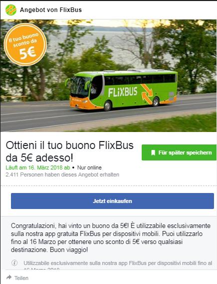 5€ Flixbus Gutschein kostenlos