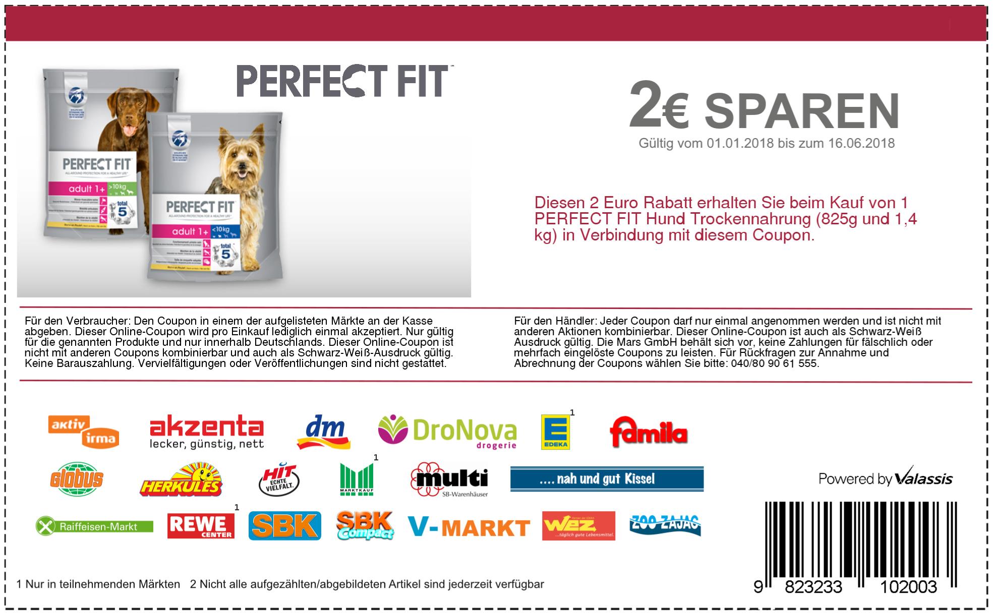 2€ Coupon Rabatt Perfect Fit Hund Trockennahrung (825g und 1,4 kg) für DM, Globus usw.