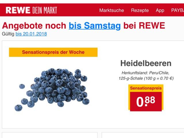 [REWE] Heidelbeeren 125g Packung für 0,88€
