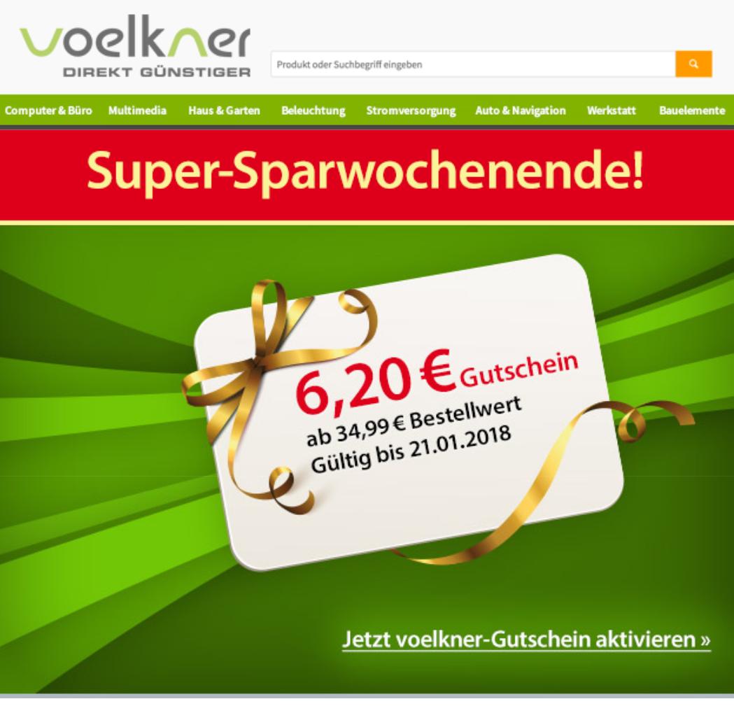 Voelkner 6,20 Euro Gutschein ab 34,99 einlösbar