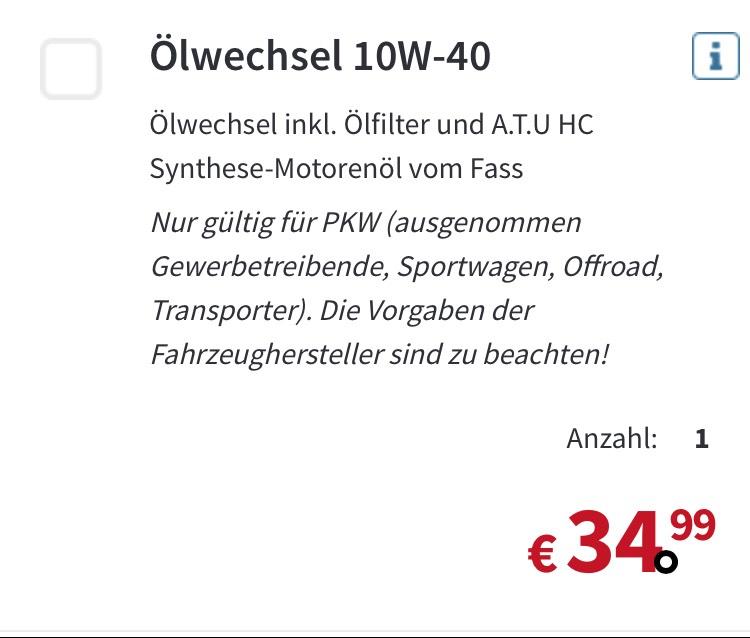 Ölwechsel A.T.U. 10W-40