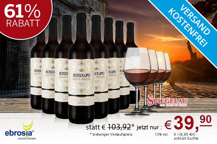 8 Flaschen Primitivo Rossolupo + 4 Marken-Rotweingläsern + 15 EUR Amazon Gutschein