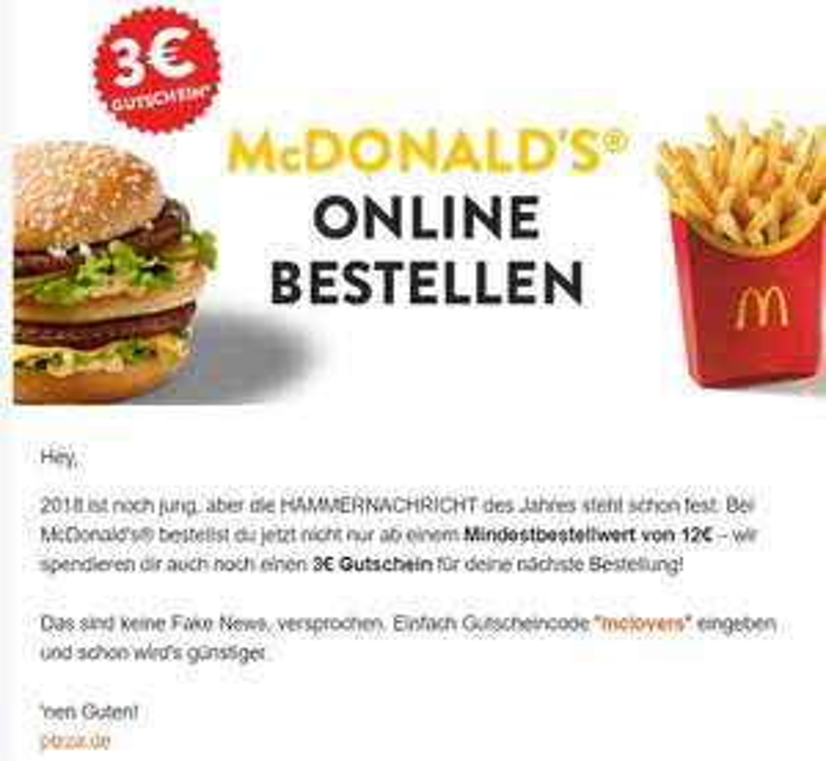 3€ Rabatt bei Pizza.de auf McDonalds Bestellungen (MBW 12€)