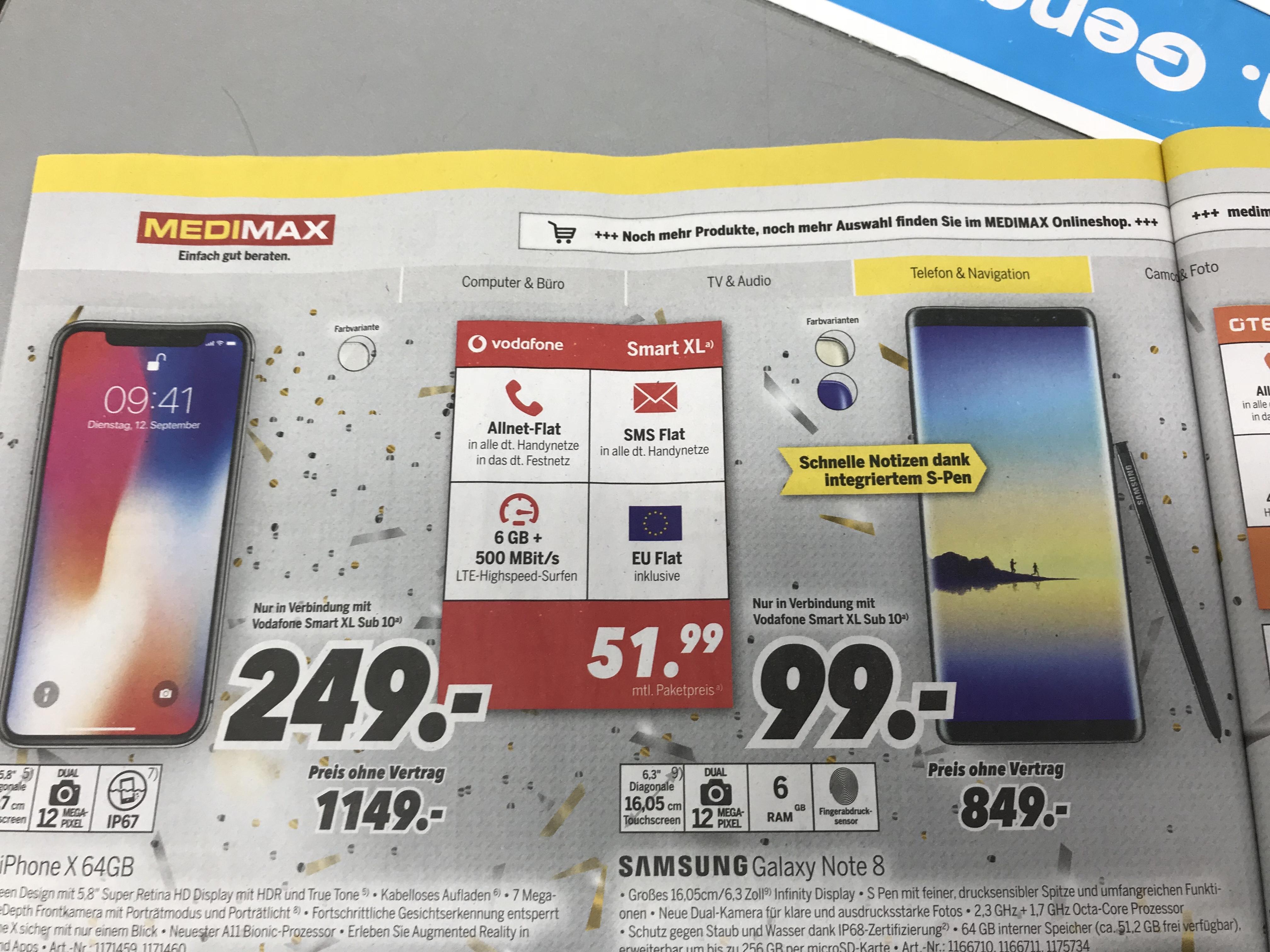 [ Medimax Hildesheim ] Iphone X für 249€ im Vodafone Smart XL für mtl. 51,99€ mit 6GB LTE