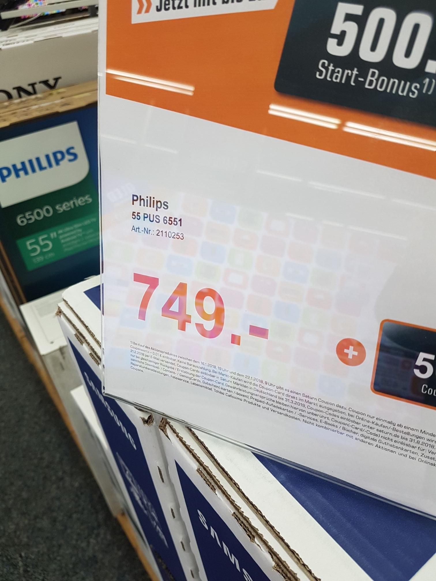 [LOKAL-BERLIN] PHILIPS 55PUS6551/12 LED TV (Flat, 55 Zoll, UHD 4K, SMART TV, Android TV)