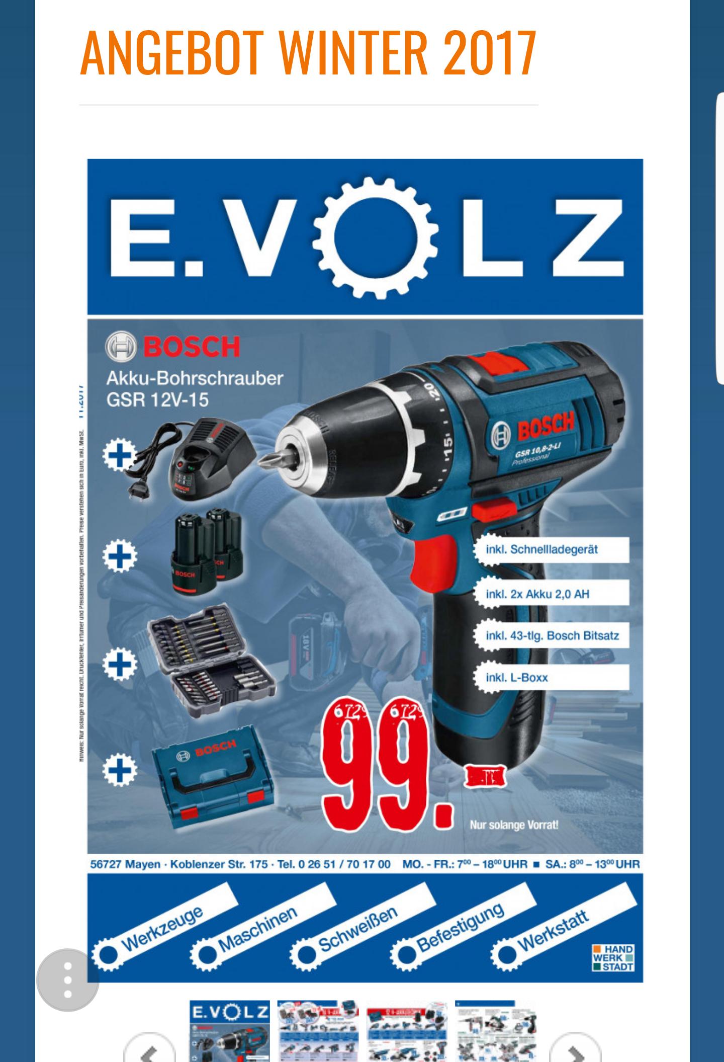 [Lokal Mayen] Bosch GSR12V-15, 2x2.0Ah, L-Boxx,43 tlg Bitset