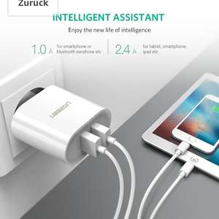 Amazon Blitzangebot UGREEN Ladegerät 17W 3.4A Ladeadapter 2 Ports USB Netzteile mit Intelligent Technologie