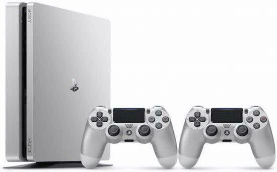 Sony Playstation PS4 Slim Silber Konsole -500 GB + 2 Controller