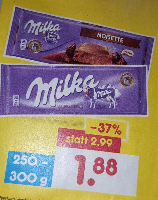 3x Milka 250-300g Großtafeln für 1,55€/Stück bei Netto MD (Angebot+Coupon) ab 22.01.