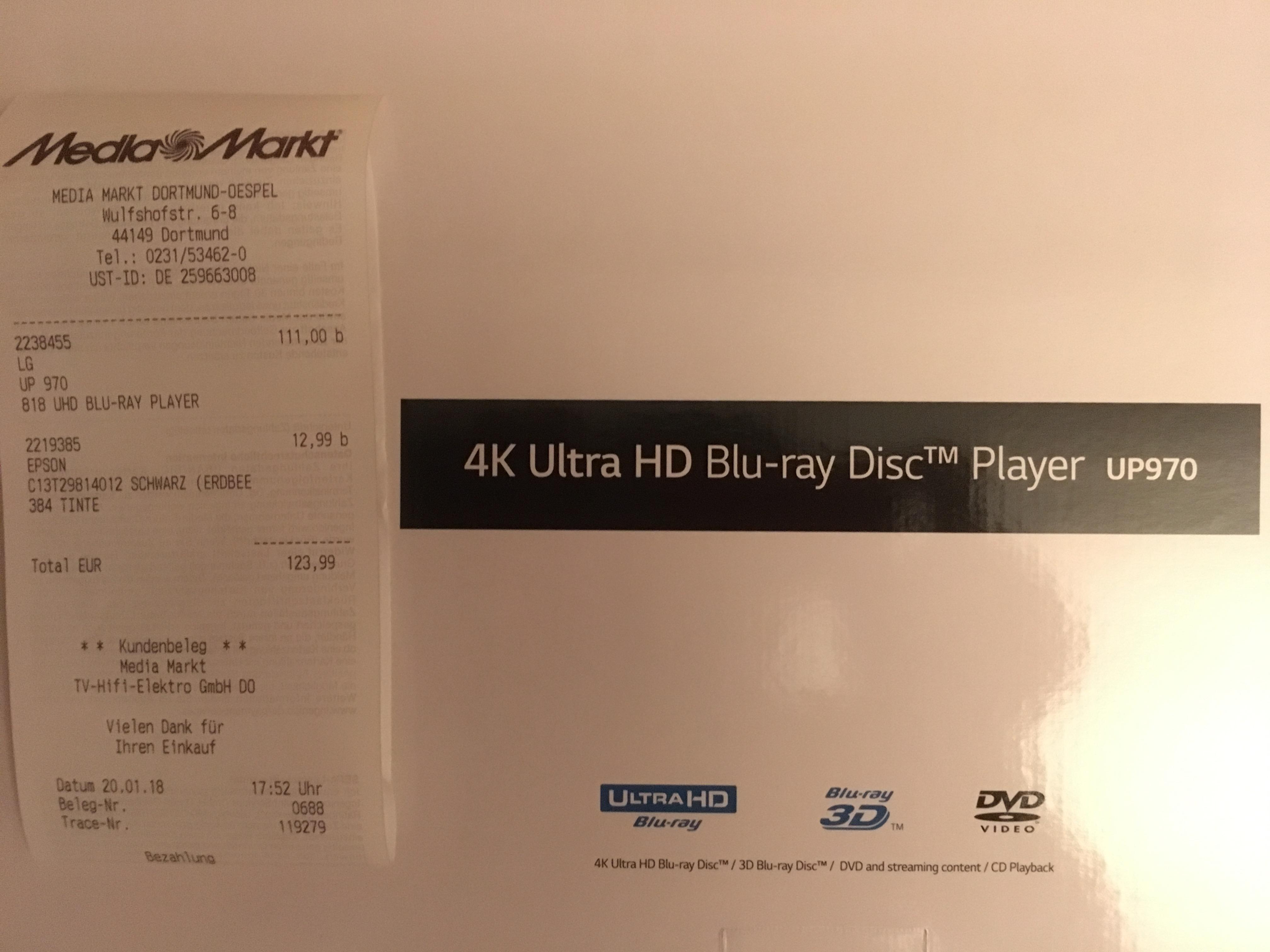 [Lokal Dortmund MediaMarkt Indupark] LG UP970 Ultra HD Blu-Ray Player