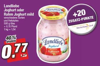 [Marktkauf Nordbayern/Sachsen/Thüringen ab 22.01.] 6 x Landliebe Joghurt 500 g + 120 DC-Punkte + Coupon (für effektiv: 0,40 €/Glas)