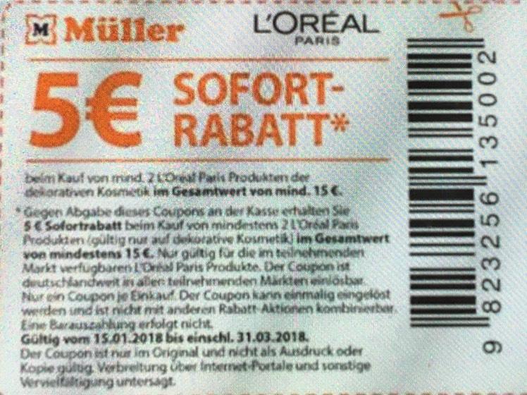 [Müller/rossmann] 5€ Rabatt beim Kauf von mind. 2 L'Oreal Produkten dekorative Kosmetik von mind. 15€