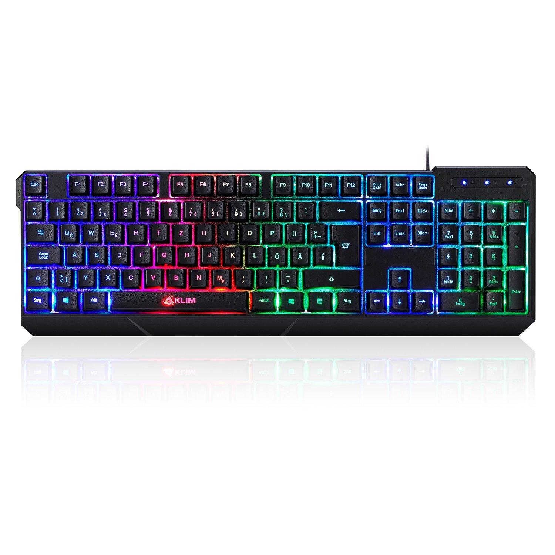Chroma deutsche Tastatur von KLIM mit USB Kabel –bunte Beleuchtung Gaming Tastatur ( schwarz )