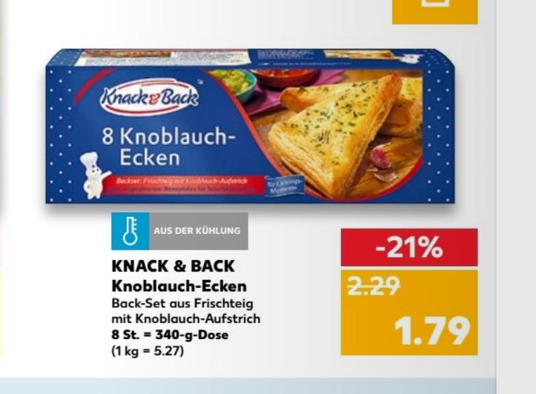 Kaufland Knack&Back 8 Knoblauchecken mit Coupon 1,29€
