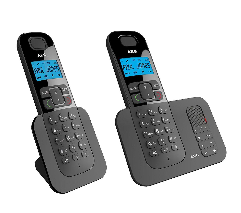 """[Media Markt][Amazon] AEG Voxtel D505 Twin - Schnurloses 1.6"""" DECT-Telefon mit zusätzlichem Mobilteil, Freisprecheinrichtung, Anrufbeantworter und Anruf Blocker, Schwarz für 25€ VSK frei"""