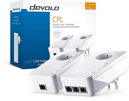 [amazon.fr]  Devolo dLAN 1200 triple+ Powerline Starter Kit (max. 1200 Mbit/s, 3x Gigabit Ports, 2x Powerlan Adapter, integrierte Steckdose, PLC Netzwerkadapter) in weiß