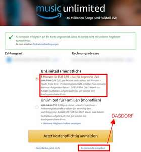 Amazon music unlimited Gutschein
