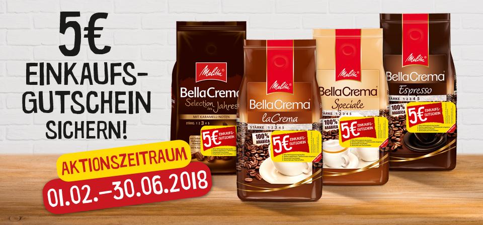[Ab Februar] Melitta Bella Crema Aktionspackung kaufen und 5€ Einkaufsgutschein erhalten