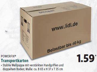 Lidl - ab 29.01.18: Umzugskartons 40Kg (B65xH37xT35)