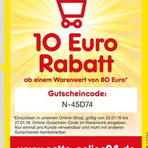 Netto-Markendiscount 10% (lokal), Online 10€ ab 80€, 23.01.-27.01.
