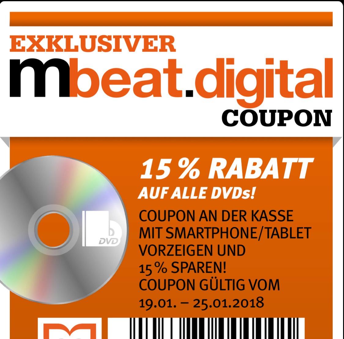 15% Rabatt auf alle DVDs! @ Müller (Drogeriemarkt)