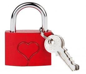 Liebesschloss aus Metall (rot lackiert) mit Herzgravur 4x5cm inkl. 2 Schlüssel im 1€-Shop